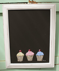 Cupcakes painted on blackboard/chalkboard