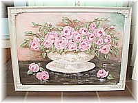 SP017 Special Order for Sarah - Huge Painting Pink Roses in China Bowl Vintage Frame very Shabby Chic