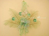 RESERVED FOR HEATHER B Totally over the top fluffy frou frou fan wall hanging AQUA