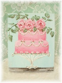 OP001 Original Canvas Painting of Shabby Chic Pink Cake with Roses & Pearl Swags