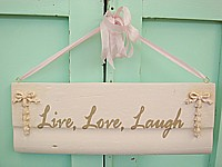"HP056 Hand Painted sign with ""Live, Love, Laugh"" on old chitectural salvage"