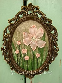 "EMB058 Original One of a kind mixed media silk/yarn embroidery on vintage linen framed pink ""Dog Rose"""