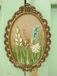 EMB059 Original One of a kind mixed media silk/yarn embroidery on vintage linen framed Bluebell & Mixed Flowers