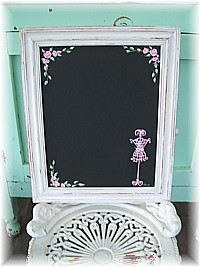 HP029 Hand Painted Roses & Mannequin on Framed Shabby Chic Blackboard/Chalkboard