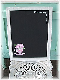 HP031 Hand Painted Pink Teacup on Framed Shabby Chic Blackboard/Chalkboard