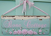 "HP051 Hand Painted ""Rose Cottage"" sign with shabby pink roses - on chippy original architectural salvage"