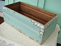 HP053 Hand Painted and hand made storage box with pink roses - chippy original architectural salvage