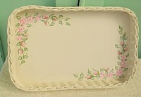HP064 Hand Painted Roses on Shabby Chic Basket/Tray