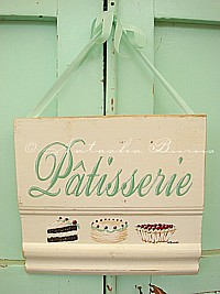 "HP079 Hand Painted ""Pâtisserie"" sign with sweets assortment - French style"