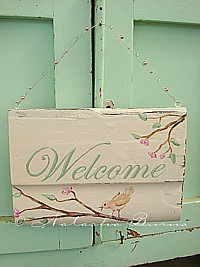 "HP080 Hand Painted ""Welcome"" sign with blossoms and bird & vintage mercury glass beads"