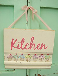 "HP089 Original Painting/Sign on wood panel - ""Kitchen"" and Cupcakes"