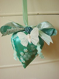 LST066  X-LARGE sized hanging lavender strawberry sachet  Green Jacquard Butterfly