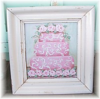 OP013 Shabby Chic Delightful Cake Painting - Pink and Highly Detailed with Roses