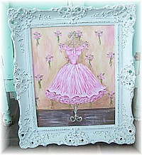 OP015 Gorgeous Tutu/Gown painting, So Pink & Pretty! In Shabby Chic vintage repro frame