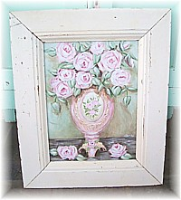 OP016 Soft Pink Vase of Pink Roses in Handmade Architrave Frame