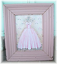 OP017 Lovely Shabby Chic Pink Gown Painting in Architrave Frame