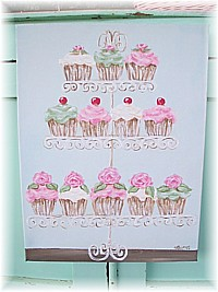 OP018 Shabby Chic Sweet Cupcakes on Scrolly Tiered Stand Original Painting