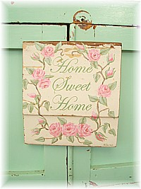 "OP022 Original Painting/Sign ""Home Sweet Home"" with pink roses on old architrave - Very Shabby Chic"