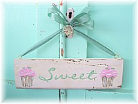 "OP023 Original Painting/Sign ""Sweet"" with pink cupcakes on old architrave - Very Shabby Chic"
