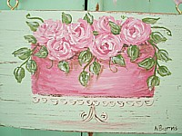 OP027 Original Painting on old wood board - Pink Cake with Roses - So shabby chic!