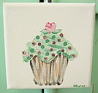 OP042 Original Painting on small canvas - Green Cupcake with Rhinestones