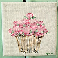 OP043 Original Painting on small canvas - Pink Cupcake with roses