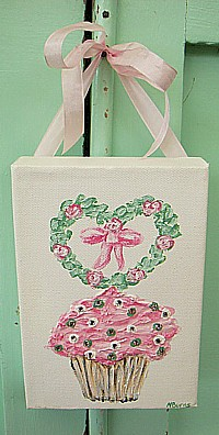 OP045 Original Painting on canvas - Pink Cupcake with rose heart