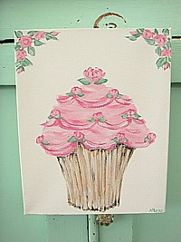 OP047 Original Painting on canvas - Rosy Pink Cupcake