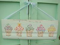 OP055 Original Painting on blue wood panel -Cupcakes with Swarovski Crystals