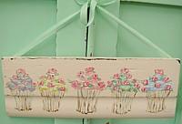 OP056 Original Painting on pink wood panel - Rosy Cupcakes