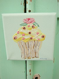Original Little Cupcake Painting on canvas with Swarovski crystals