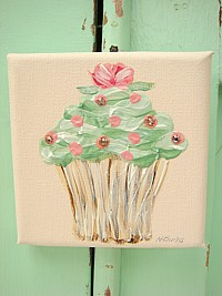 OP060 Original Little Cupcake Painting on canvas with Swarovski crystals