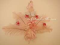 RESERVED FOR HEATHER B Totally over the top fluffy frou frou fan wall hanging PINK