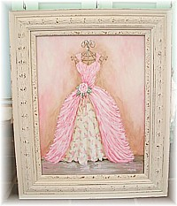 SP012 Special Order for Jen - Original Painting Pink Cream Rosy Gown, Very Shabby Chic