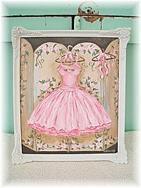 SP008 Special order for Wendy, original painting Shabby Chic TUTU hanging from rosy screen